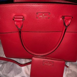 Red Kate spade crossbody purse